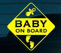 BABY ON BOARD Self-Adhesive STICKER SIGN CAR WINDOW Footprints Reverse Yellow