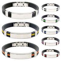 Men Women's Stainless Steel Rubber Wristband Bangle Clasp Cuff Bracelet Jewelry