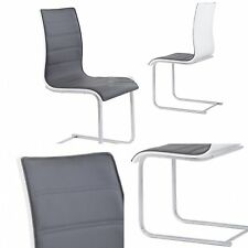 """""""SAVONA"""" Contemporary Faux Leather Grey and White Dining Chair"""