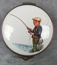 Alistor Enamels Trinket Pill Box - Fisherman Life is Tangled Web - 1993 - 116