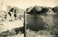 Canyon Lake Arizona RPPC Salt River reservoir AZ Cactus Postcard