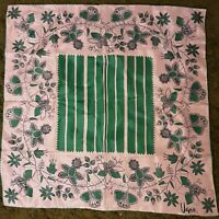 1970's Vera Neumann Scarf with Green & White Stripes and Paisley Frame (27 x 27)