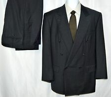 Ermenegildo Zegna Men's 42R 32x30 Double Breasted Suit Dark Gray Wool Textured