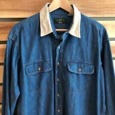 EUC USA Made Mens Orvis Denim Corduroy Collar L/S Button Up Shirt L/XL