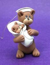 "Nurse Bear w/ Baby Teddy Ornament 1 3/4"" Hand Made Miniature"