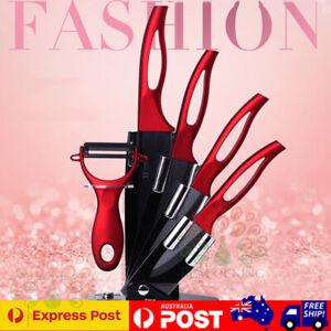 5 pcs Ceramic Knife Gift Set Black Blade Kitchen Knives Fruit Peeler Rack Holder