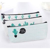 Canvas Cactus Pencil Pen Case Cosmetic Makeup Bag Storage Pouch Purse Student