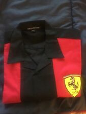 NEW MEDIUM BLACK RED S/S SHIRT WITH FERRARI PATCHES ITALY CAR 430