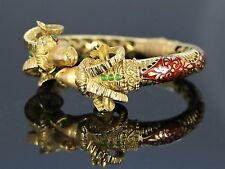 K Rare Vintage 18K Yellow Gold Ram Head Enamel Bangle Bracelet Emerald Hinge