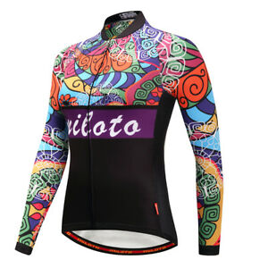 Women's Cycling Jersey Breathable Tight Bike Clothing Bicycle Long Sleeve Tops