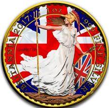 2017 1 Oz Silver £2 PATRIOTIC FLAG BRITANNIA Coin, 24K GOLD GILDED.