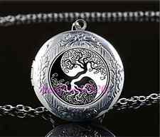 Ying Yang Tree Of Life Cabochon Glass Tibet Silver Locket Pendant Necklace