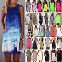 Women Short Mini Dress Summer Beach Tunic Tops Blouse Sleeveless Casual Sundress