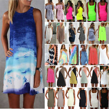 Women Short Mini Dress Summer Beach Tunic Sleeveless Tank Vest Casual Sun Dress