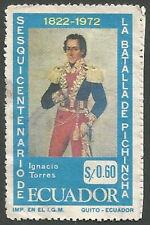 Ecuador Scott# 857, Ignacio Torres, Anniv. 1822 Battle of Pichincha Used, 1972
