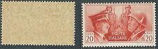 1941 REGNO FRATELLANZA D'ARMI NON EMESSO 20 CENT MNH ** - W269