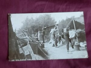 VINTAGE WW 1 ERA REAL PHOTO POSTCARD,  BATTLE CAMP - THE SOLIDERS TOILET