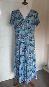 Pretty SIZE 18 Blue Floral Paisley Short Sleeve Cotton Dress 'Ethos'