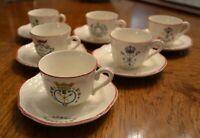 "6pc SET VINTAGE DEMITASSE CUPS & SAUCERS ""varied insignias"" h/p trim  $15.00"