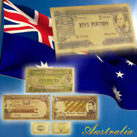 WR Australian Pre Decimal Note Set Coloured 1/2 1 5 10 Pound Gold Banknotes Gift