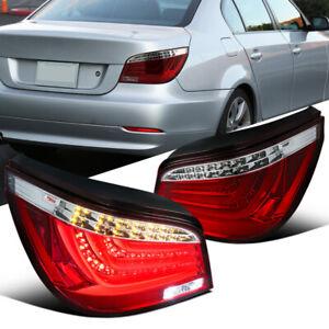 For BMW 08-10 E60 5-Series Sedan Red Clear Neon LED Bar Rear Tail Brake Lights