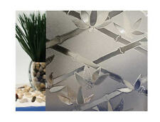 """Tinted Bamboo Flowers Cut Glass Static Cling Window Film, 35"""" Wide x 6.5 ft"""