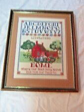 A Vintage Framed Intricate Detailed Finished Cross Stitch Needlework Sampler