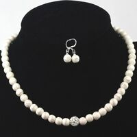 White Magnesite Turquoise Necklace FREE Earrings & Silver Tone Clasp 16.5-19.5""