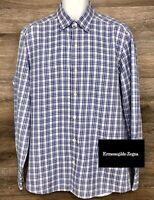 Ermenegildo Zegna Men's Blue White Plaid Modern Long Sleeve Button Down Shirt L