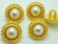 20 Lovely 14mm Round Pearl Gold Tone Plastic Sewing Buttons