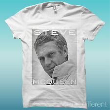 """T-SHIRT """" STEVE MCQUEEN 2 """" VINTAGE BIANCO THE HAPPINESS IS HAVE MY T-SHIRT NEW"""