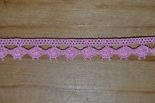 dentelle coton rose au mètre