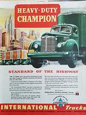 1948 Green International Harvester Heavy Duty Champion Truck Trucks Color Ad