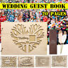 Wooden Wedding Guest Book Guestbook Memory Book Photo Album Gifts + Feather Pen