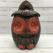 Vintage Retro Haeger Pottery Brown and Red Owl Cookie Jar