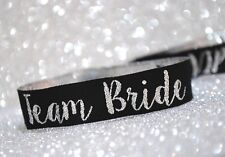Team Bride Silver & Black Hen Party Wristbands / Hens Party Accessories
