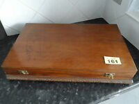 VINTAGE OAK WOODEN CANTEEN CUTLERY BOX SILVER KNIVES FORK SPOONS 6 PLACE SETTING