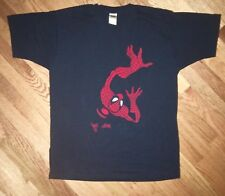 Spiderman T Shirt Mens XL Black Felt Vtg 90s Fruit Of The Loom Premium HD Rare