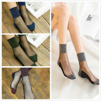 Women's Fishnet Mesh Lace Ruffle Socks Sheer Silky Glitter Short Ankle Stocking