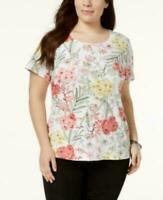KAREN SCOTT Women's Plus Pink Yellow Floral Scoop Neck T-Shirt Sizes 0X 2X 3X