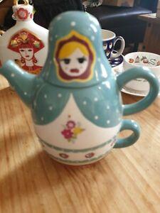 RUSSIAN DOLL BABUSHKA TEA FOR ONE TEAPOT & TEA CUP MUG HOME WITH ASHLEY THOMAS