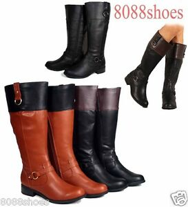 Soda Women's Fashion Two Tone Riding Knee High Boot Women's Shoes Size 6 -11 NEW