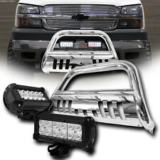 Chrome Bull Bar Grille Guard+36W Cree Led Lights Lamp Fits 05-17 Nissan Frontier