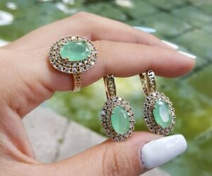 925 Sterling Silver Turkish Handmade Jewelry Chalcedony Ladie's Sets