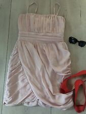 H&m Eur38 8/10 Dress Party Cocktail  Disco Nude Salmon Pink Fitted Mini £45