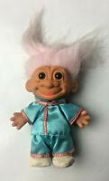 "Vintage Russ 5"" Troll Doll - Japanese/Chinese Light Pale Blue Kimono & Pink Hair"