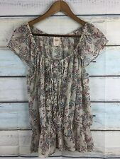 MOSSIMO Sheer Floral / Paisley Blouse Drop Waist Boho Peasant Top Size XL