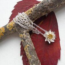 Lotus Blüte, Blume, filigran vergoldet, Anhänger mit Halskette, Silber plattiert