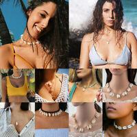 Fashion Boho Beach Sea Shell Pendant Chain Choker Multilayer Necklace Jewelry