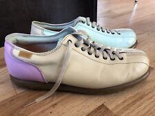 Women's CAMPER Lt.  Blue Pink Leather Shoe Retro Bowling Patchwork Mismatch Sz 9